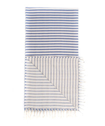 Handloom pewter stripe pure cotton towel