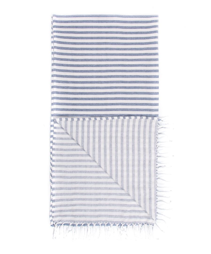 Handloom blue stripe pure cotton towel Sale - hamam