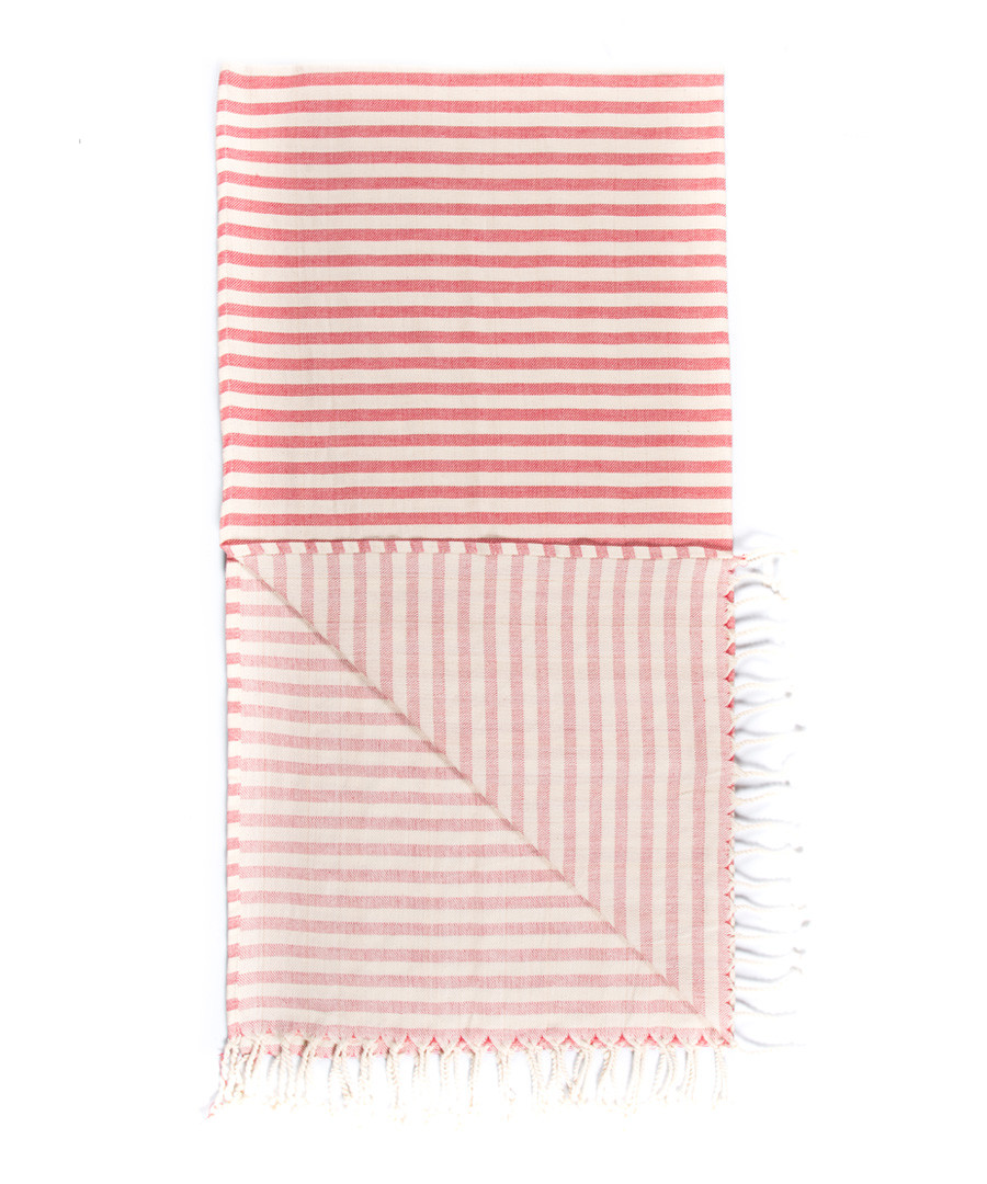 Handloom red stripe pure cotton towel Sale - hamam