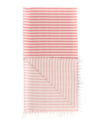 Handloom red stripe pure cotton towel