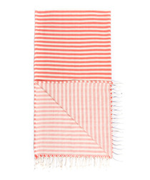 Handloom orange stripe pure cotton towel