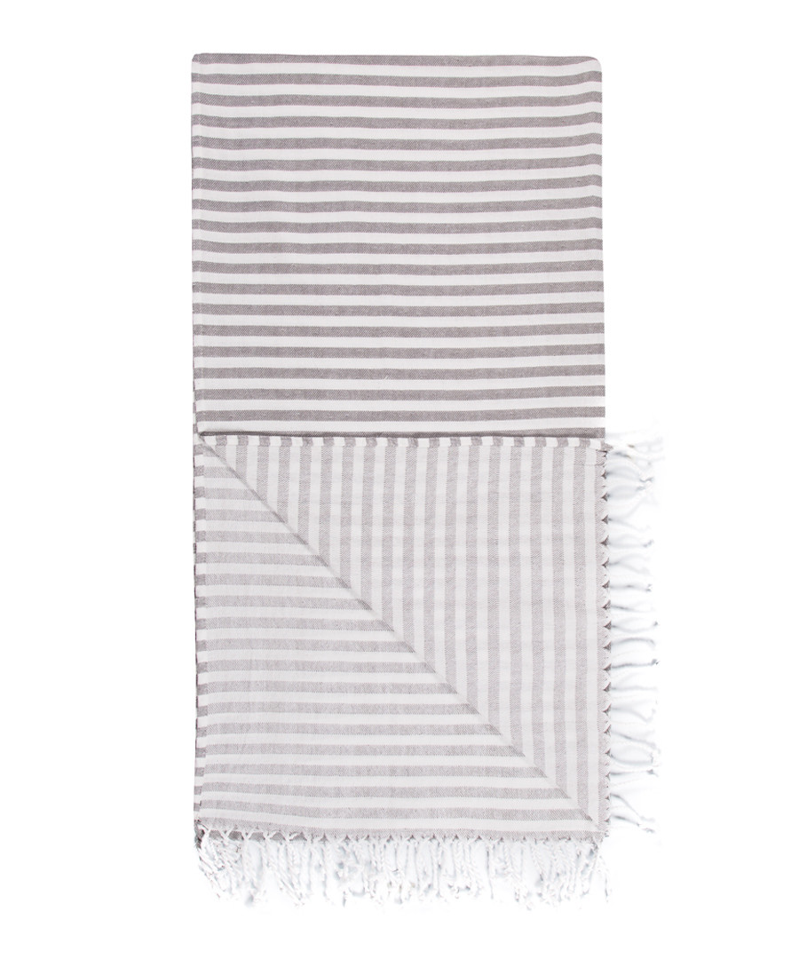 Handloom grey stripe pure cotton towel Sale - hamam