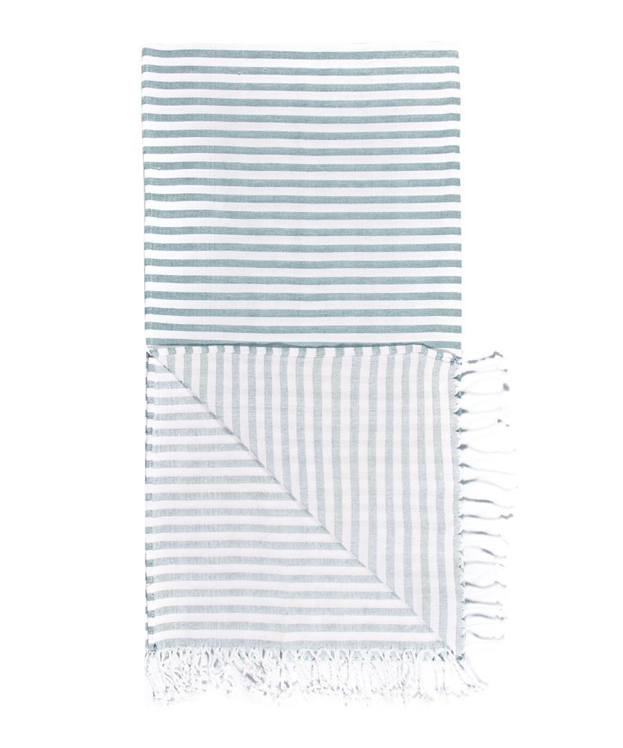 Handloom aqua stripe pure cotton towel Sale - hamam