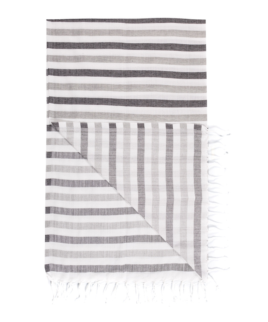 Handloom greyscale stripe cotton towel Sale - hamam