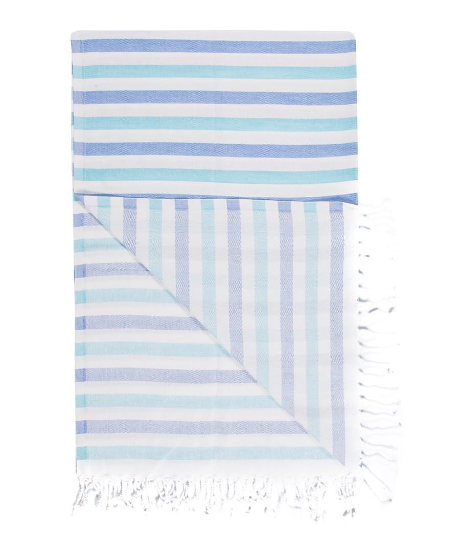Handloom blues stripe cotton towel Sale - hamam