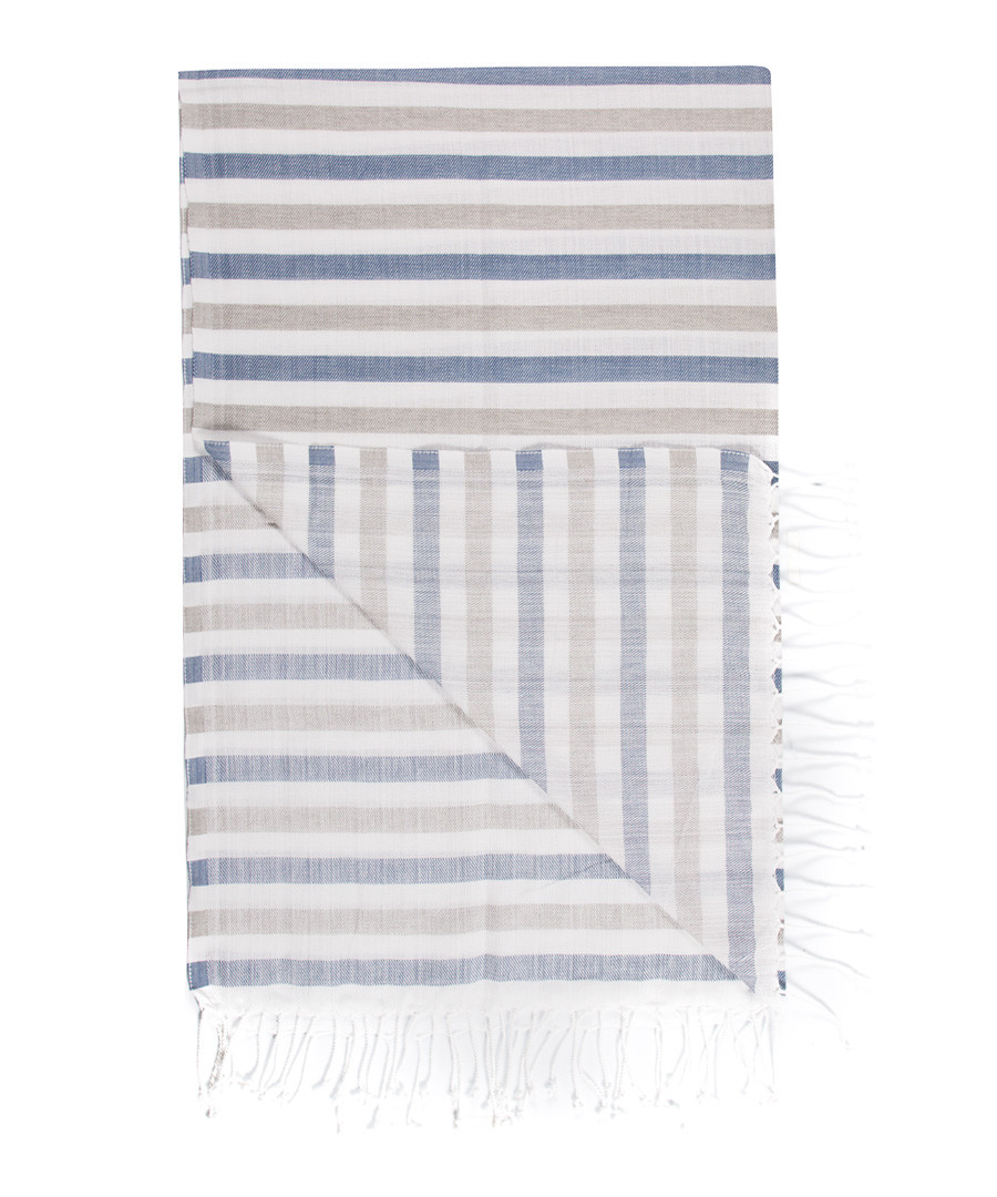 Handloom grey & blue stripe cotton towel Sale - hamam