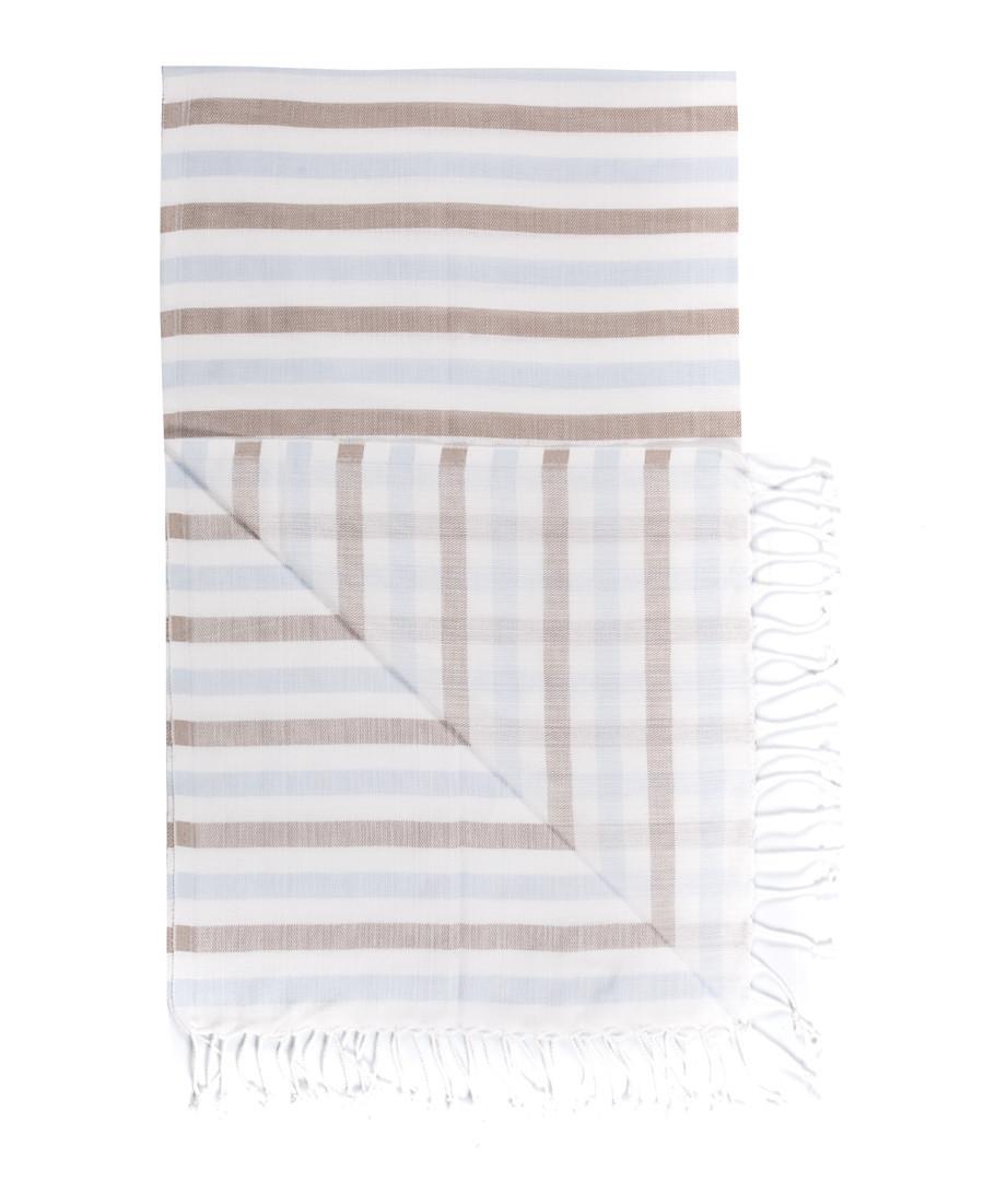 Handloom brown & blue cotton towel Sale - hamam