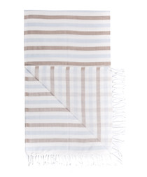 Handloom brown & blue cotton towel
