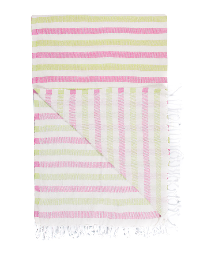 Handloom pink & green cotton towel Sale - hamam