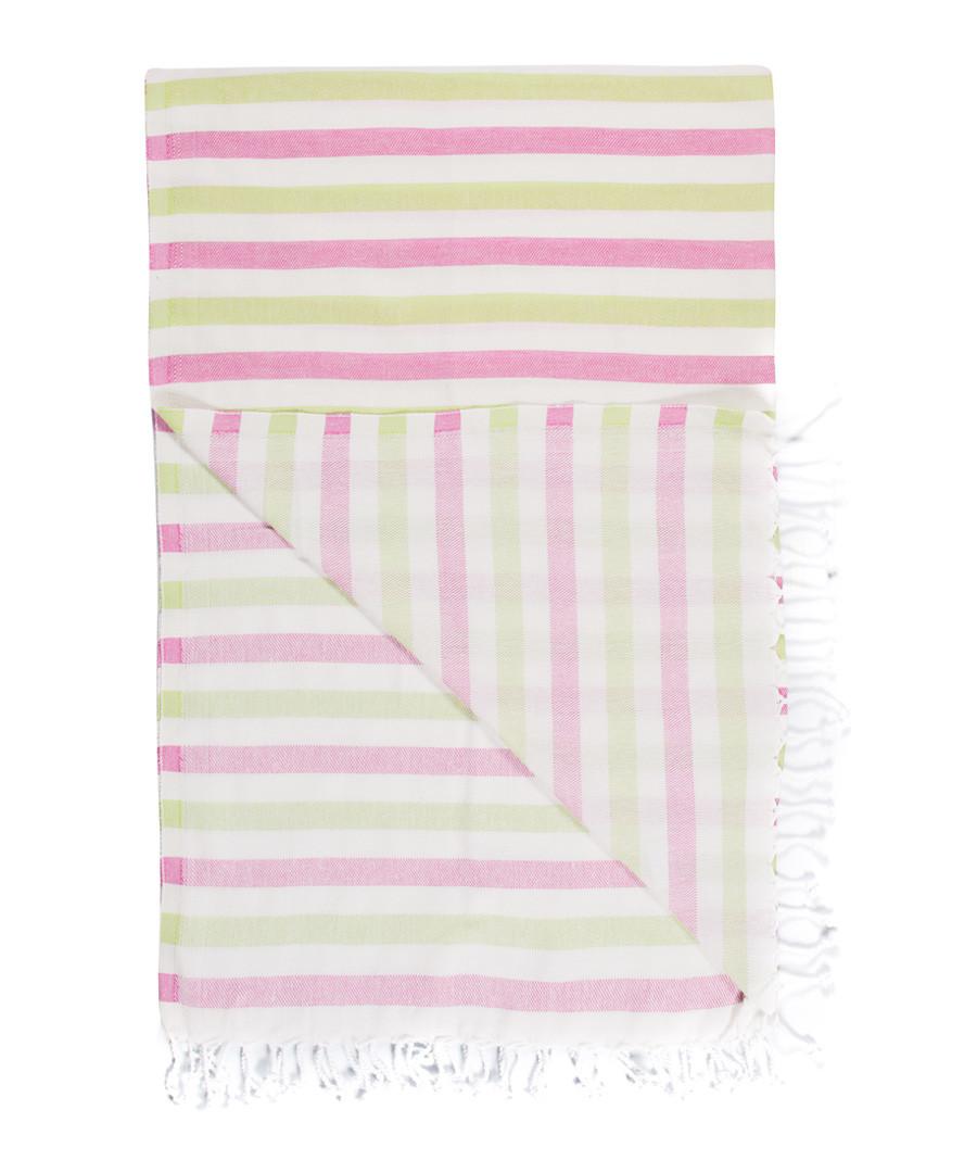 Handloom pink & green cotton towel Sale - hamam