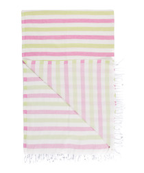 Handloom pink & green cotton towel