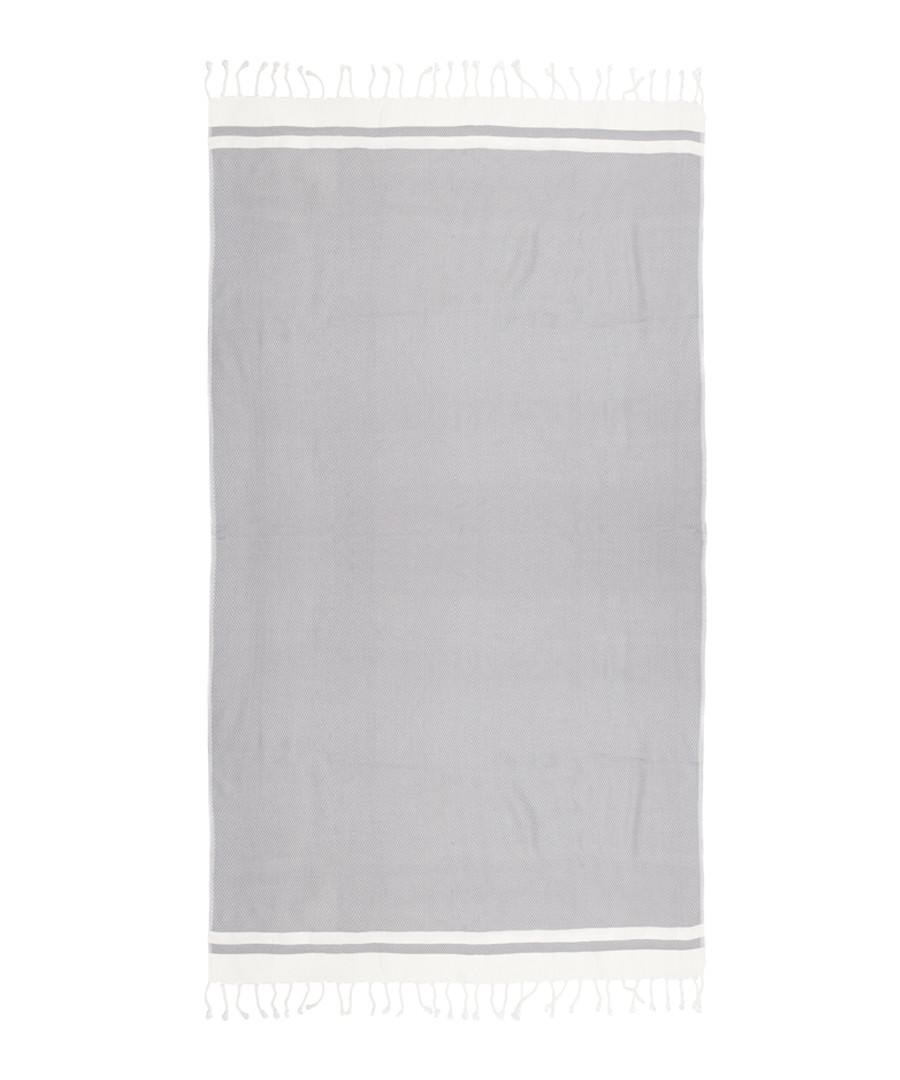 Handloom grey & white pure cotton towel Sale - hamam