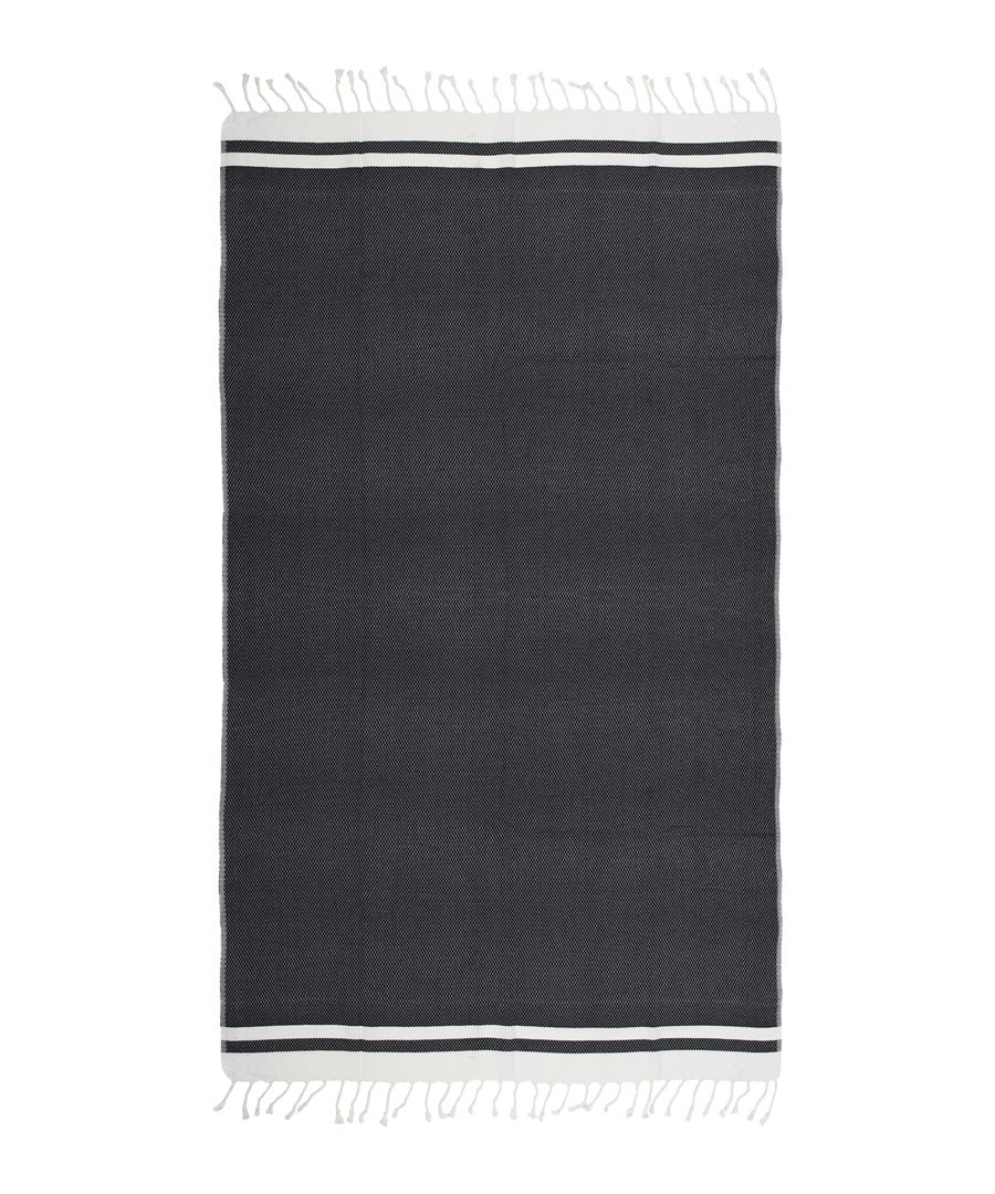 Handloom black & white pure cotton towel Sale - hamam