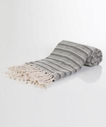 Handloom grey zigzag pure cotton towel