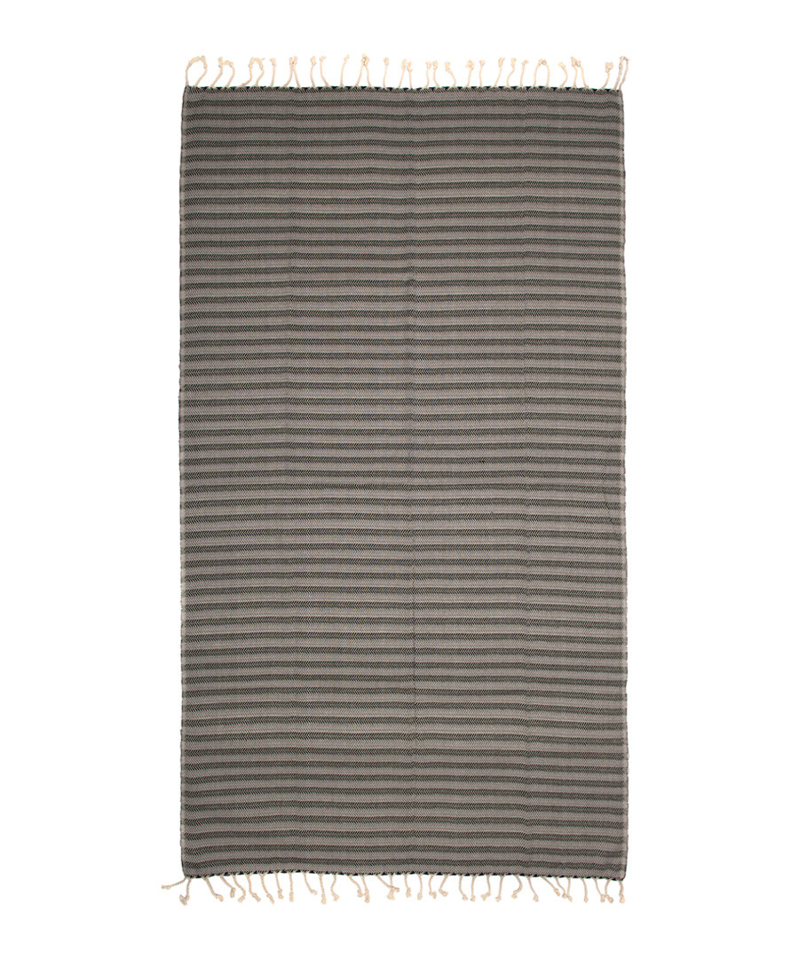 Handloom grey zigzag pure cotton towel Sale - hamam