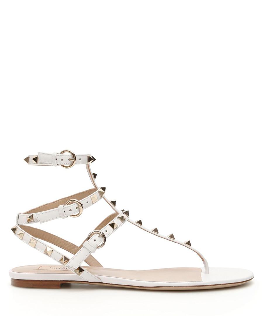 Rockstud white leather flat sandals Sale - valentino