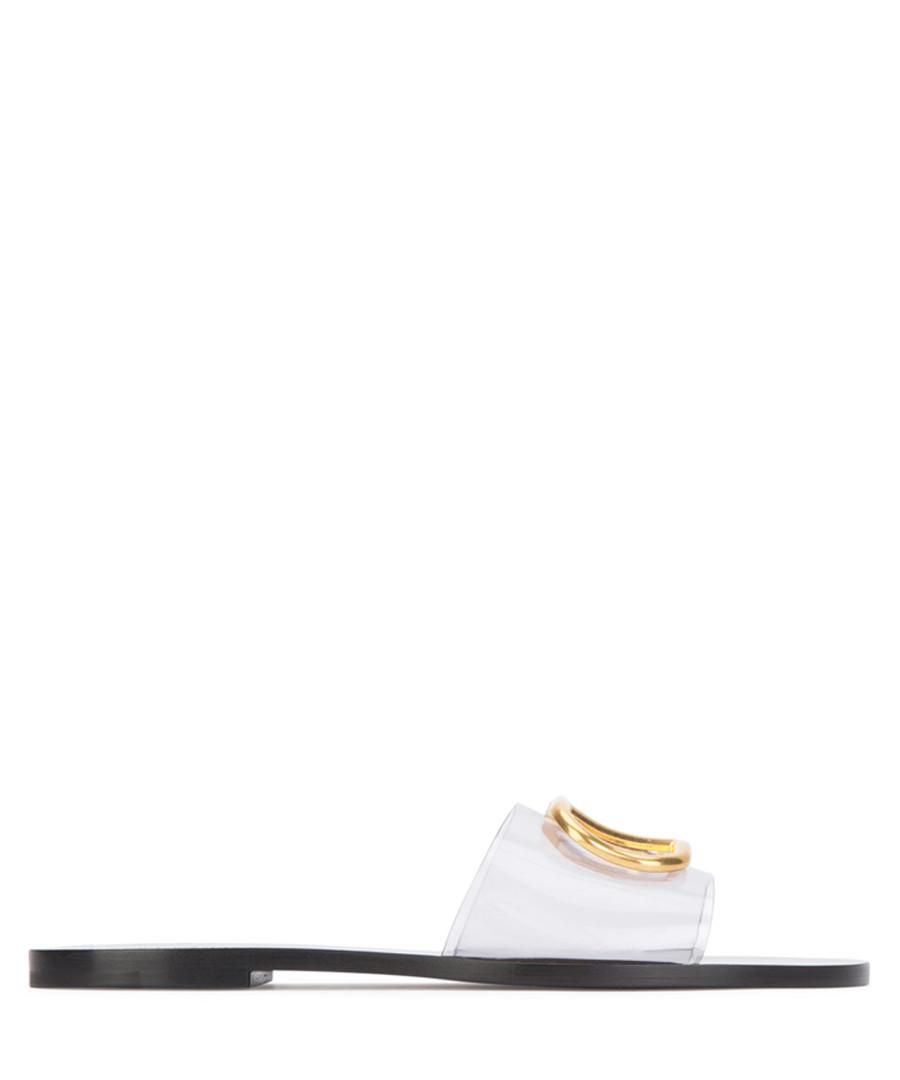 white & black pvc sliders Sale - valentino