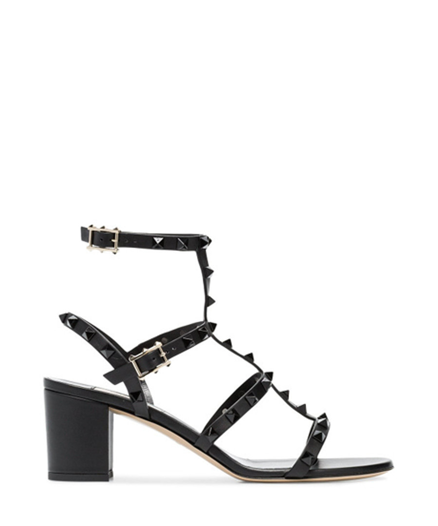 rockstud black leather mid sandals Sale - valentino