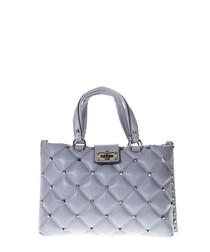 Ice blue leather quilt shoulder bag