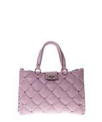 Pink leather quilt shoulder bag