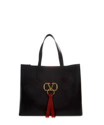 Black leather & ribbon tote bag