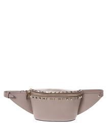 Rockstud dusty pink leather waist bag