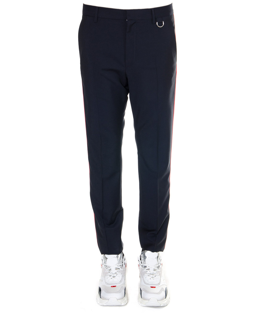 Navy wool & mohair side stripe trousers Sale - valentino