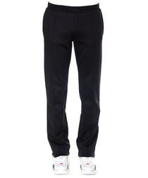Black cotton blend relaxed trousers