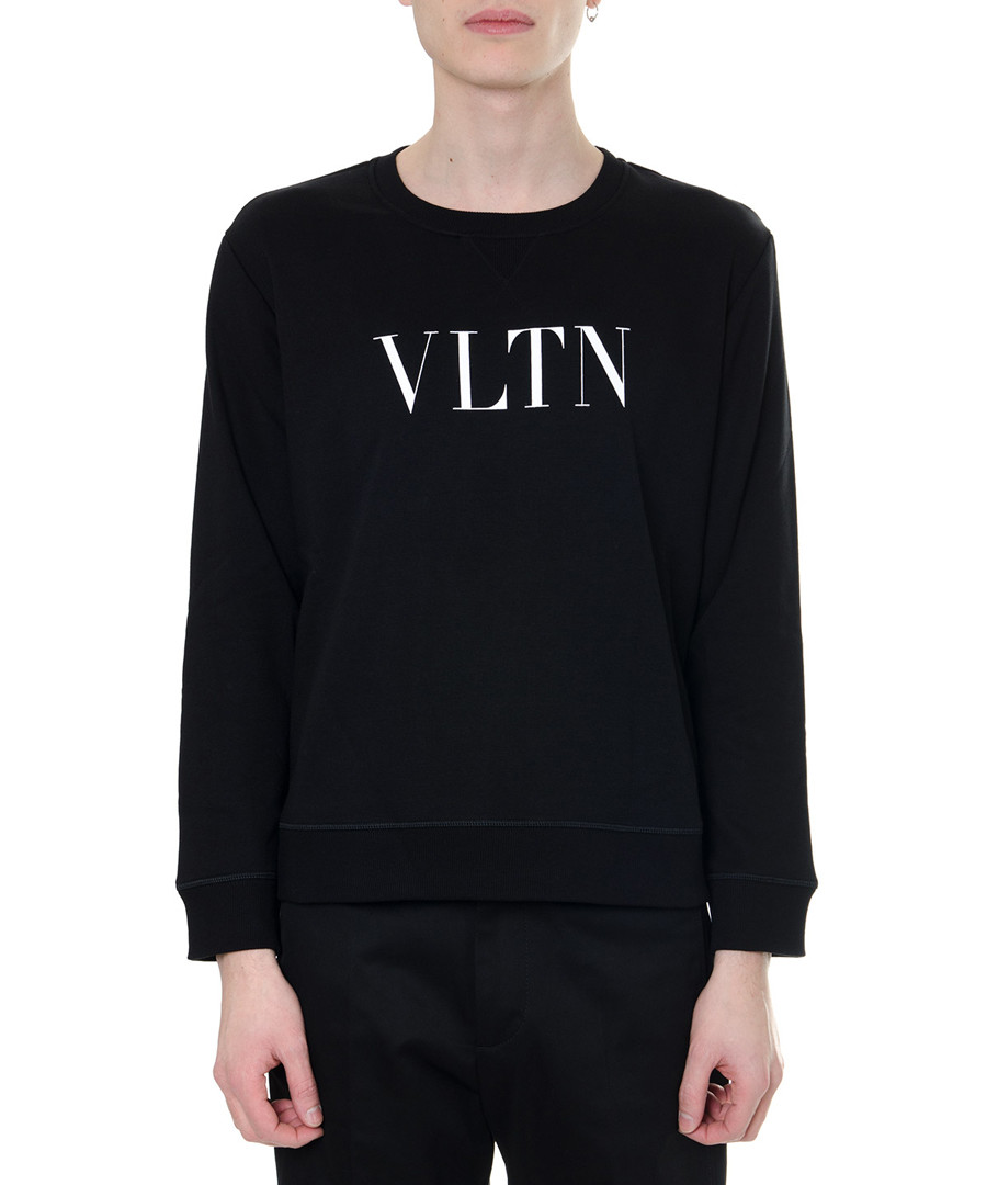 vltn black cotton crew jumper Sale - valentino