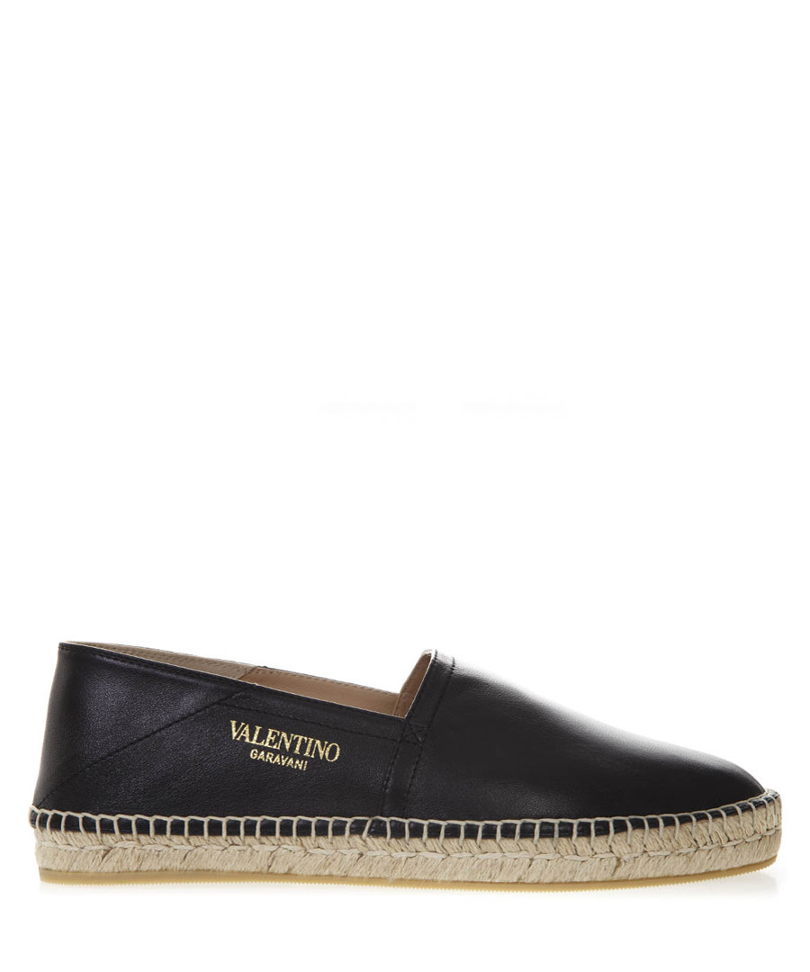 black leather logo espadrilles Sale - valentino garavani