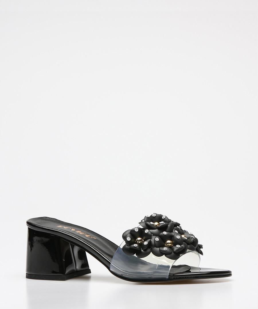 Black & clear block heel mules Sale - rovigo