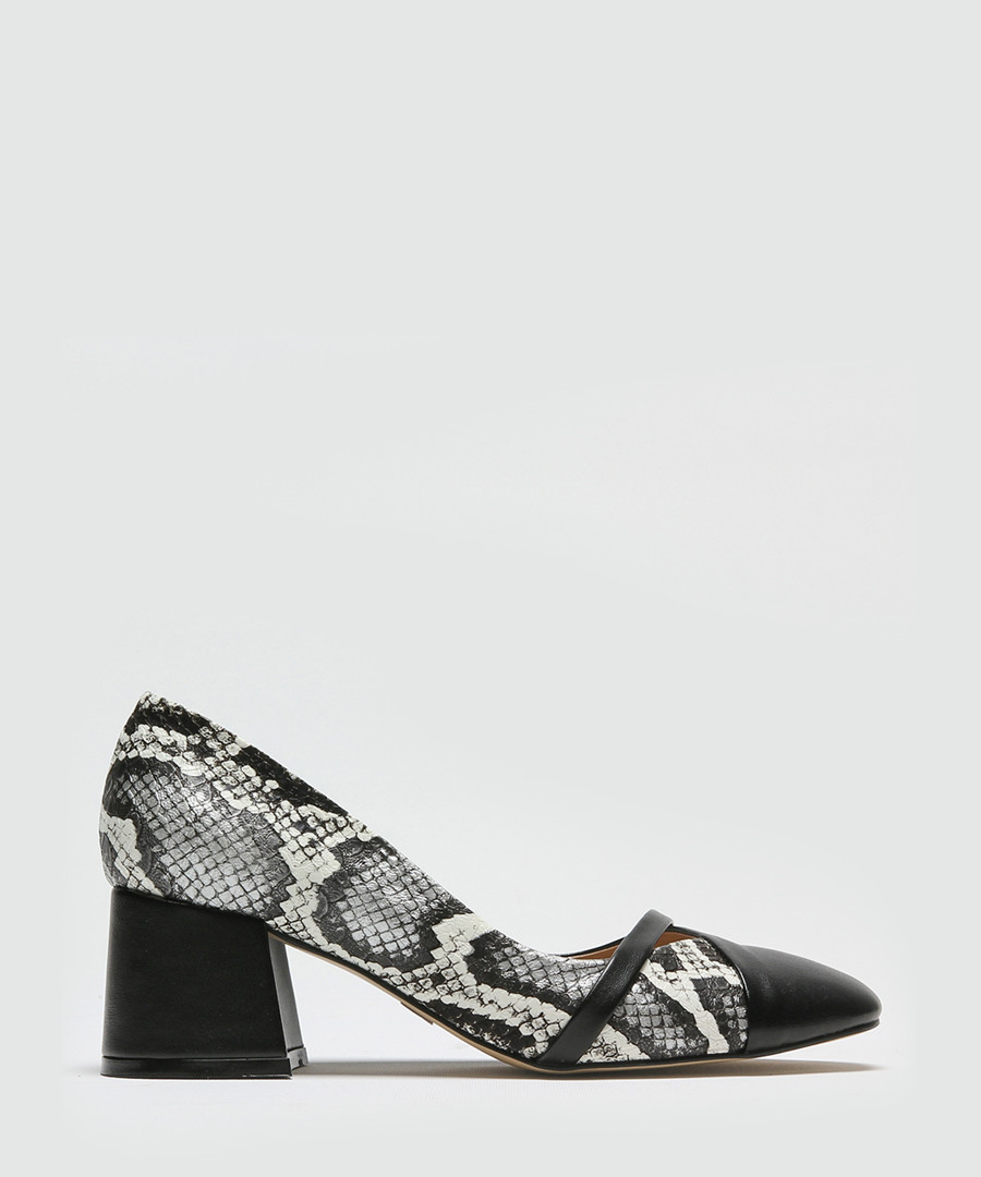 Snake-effect block heels courts Sale - rovigo