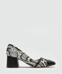 Snake-effect block heels courts