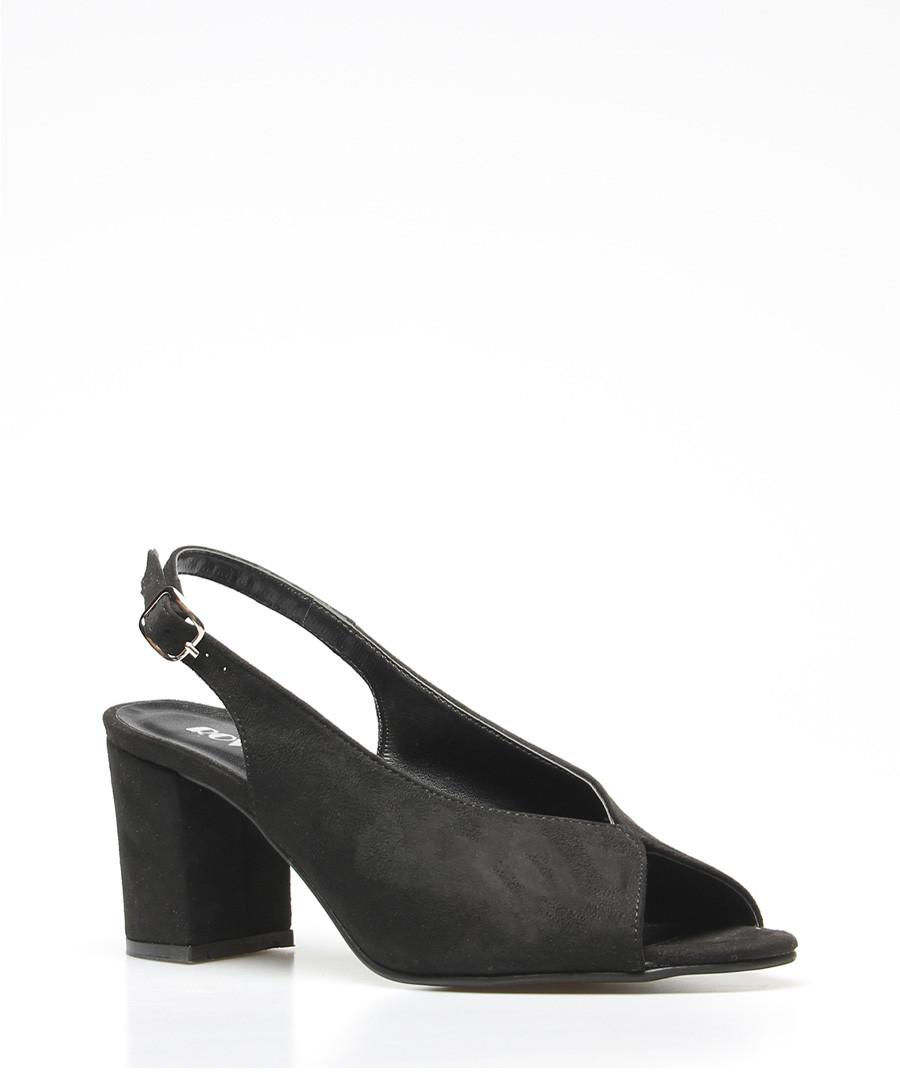 Black faux-suede peep-toe slingbacks Sale - rovigo