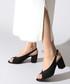 Black faux-suede peep-toe slingbacks Sale - rovigo Sale