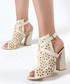 Beige fretwork cut-out heels Sale - rovigo Sale