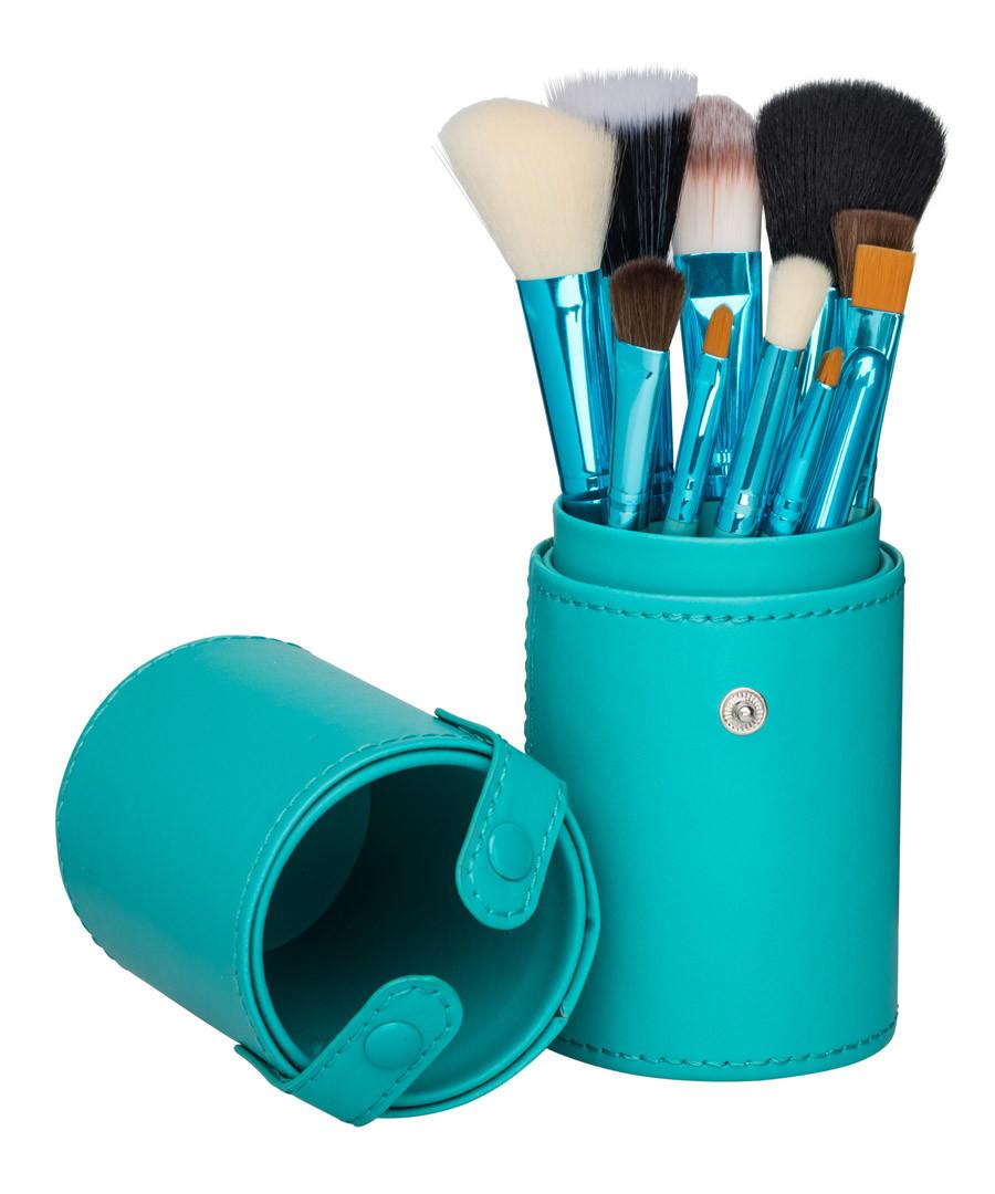 12pc Turquoise professional brush set Sale - zoe ayla