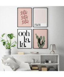 4pc Petal pink wall art set