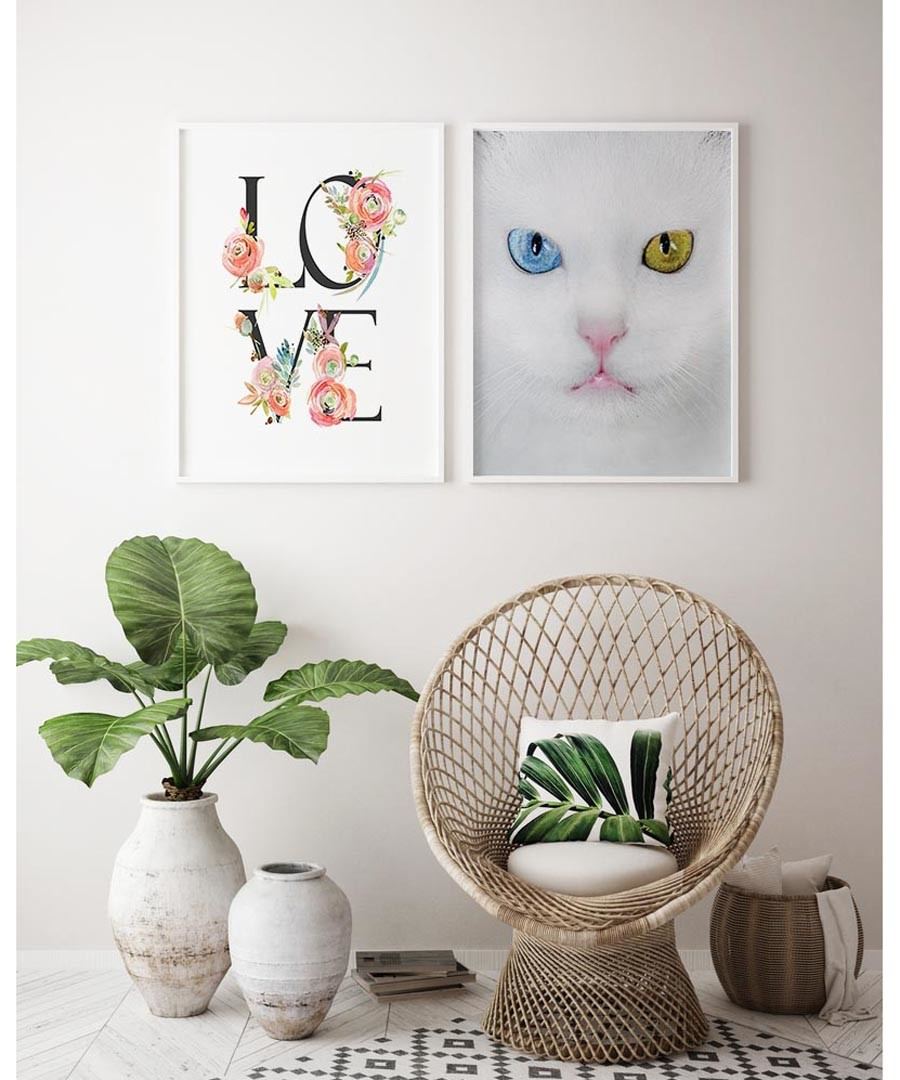2pc Love Cat wall art set Sale - modacanvas