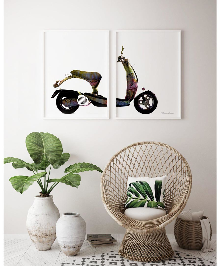 2pc Scooter wall art set Sale - modacanvas