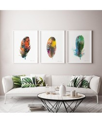 3pc Feather wall art set