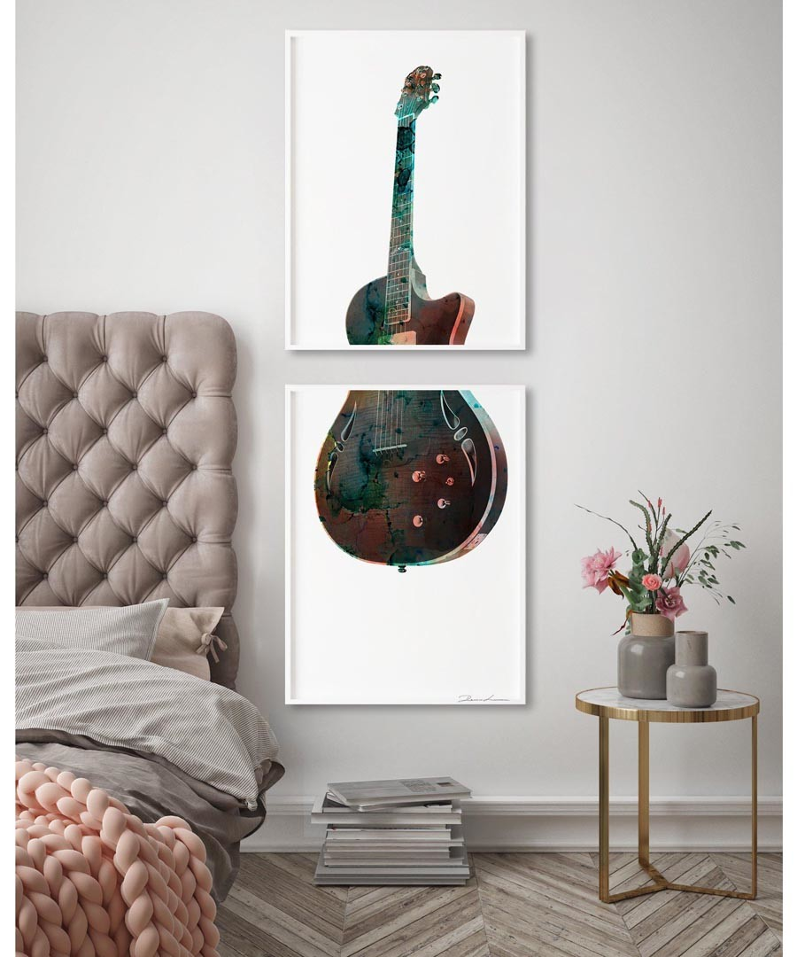 2pc Les Paul guitar wall art set Sale - modacanvas