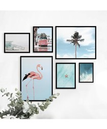 6pc Flamingo wall art set