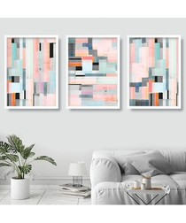3pc Rose Pixel wall art set