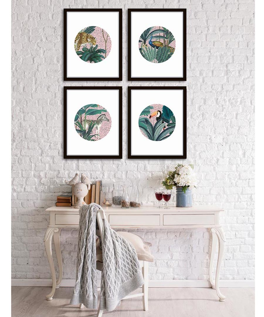 4pc Tropic Circles wall art set Sale - modacanvas