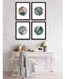 4pc Tropic Circles wall art set