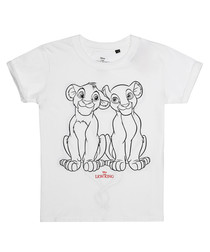 Girls' Lion King white cotton T-shirt