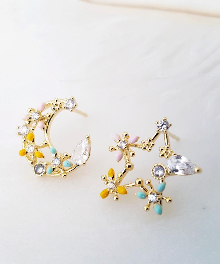 14k gold-plated star & moon earrings Sale - fleur envy