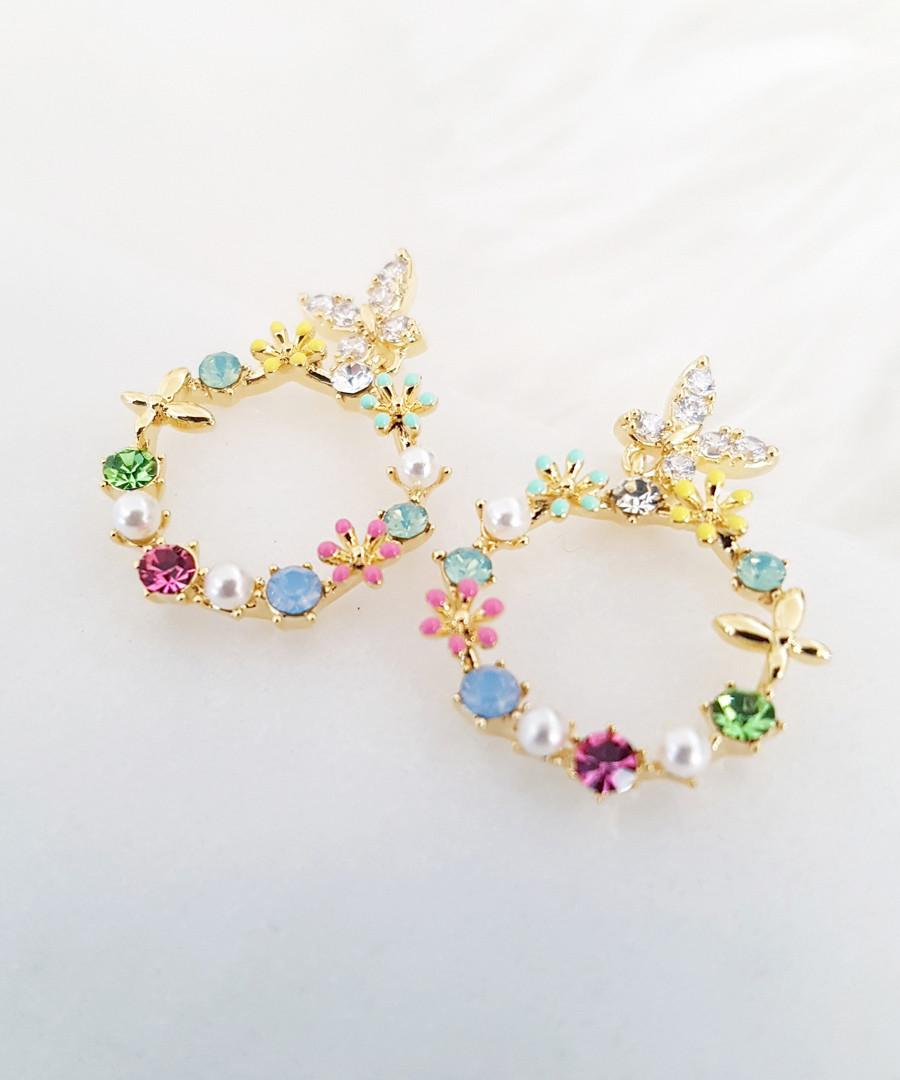 14k gold-plated floral hoop earrings Sale - fleur envy