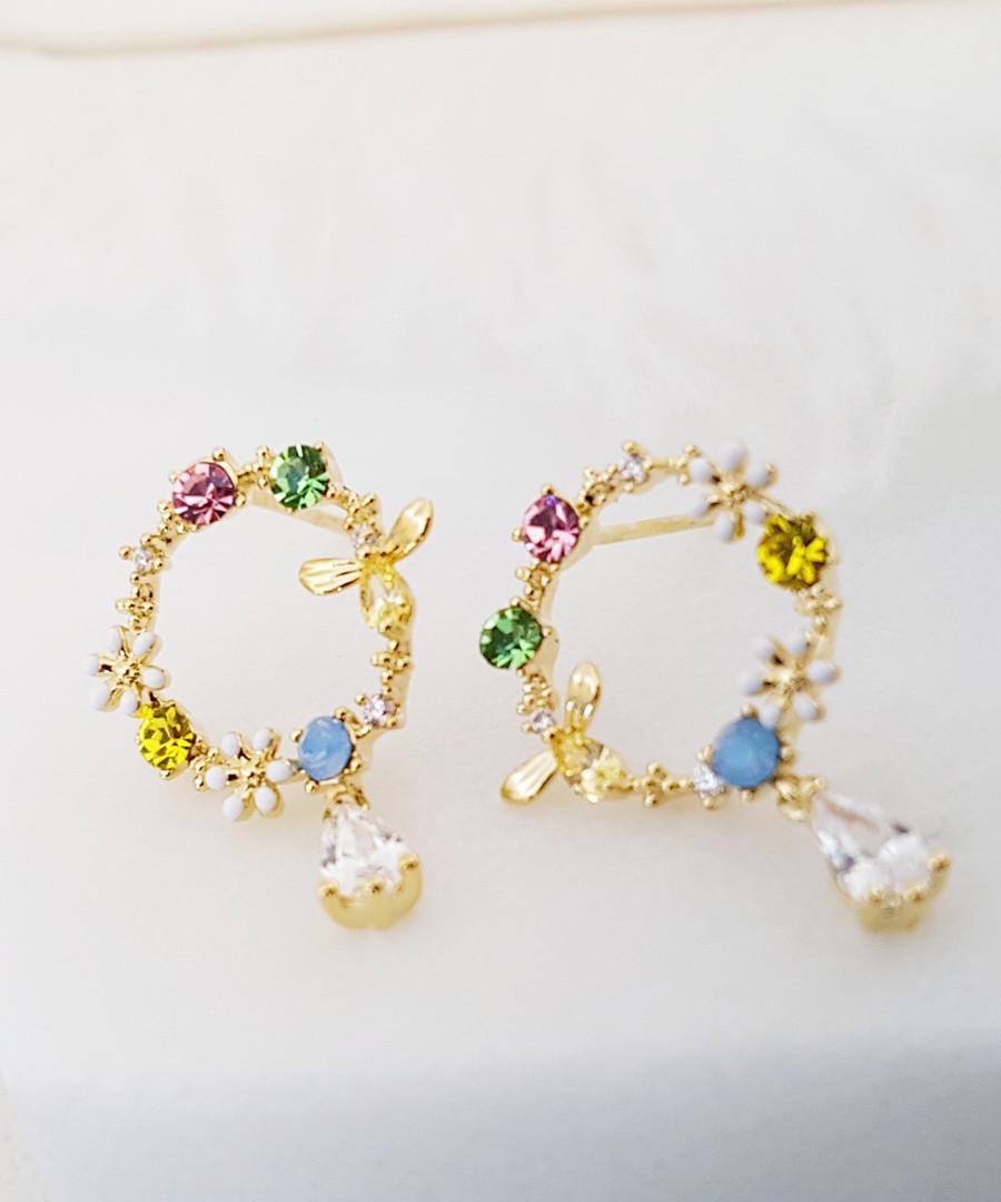 14k gold-plated hoop drop earrings Sale - fleur envy